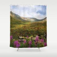 Fireweed Valley Alaska - Mountian Landscape Shower Curtain