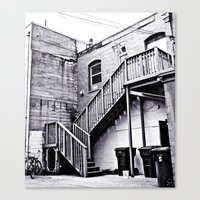 Canvas Print featuring Alleyway stairs by Vorona Photography