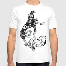 Fart Skull Flying White Mens Fitted Tee SMALL