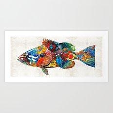 Colorful Grouper Art Fish by Sharon Cummings Art Print