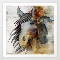 horse Art Prints featuring horse  by mark ashkenazi