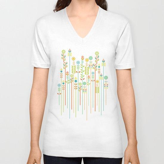 Overgrown flowers V-neck T-shirt