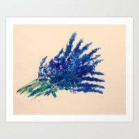 Fresh Cut Lavender Watercolors On Paper Edit Art Print