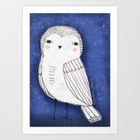 WHITE OWL Art Print
