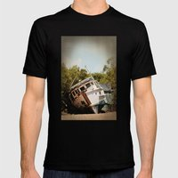 Grounded boat in need of some care Mens Fitted Tee Black SMALL