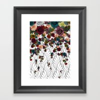 Falling Flowers Framed Art Print