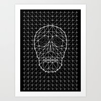 Triangle and Line Art Skull Art Print