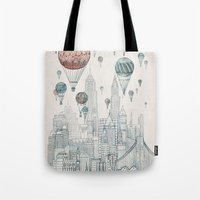 Voyages Over New York Tote Bag