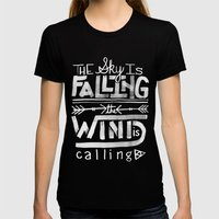Falling Womens Fitted Tee Black SMALL