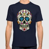 Mexican Skull Mens Fitted Tee Navy LARGE