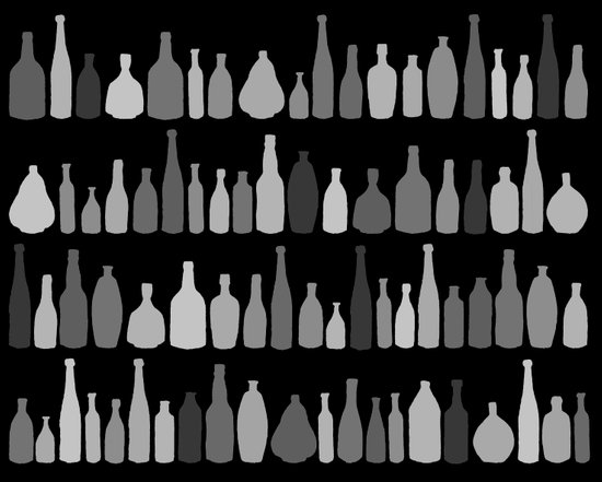 Bottles Black and White on Black Art Print