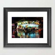 Hong Kong Cafe Blue Framed Art Print