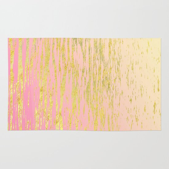 Pink Gold Ripples Rug By Sweet Karalina