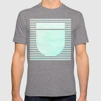 Striped Watercolor - Aqua Mens Fitted Tee Tri-Grey SMALL