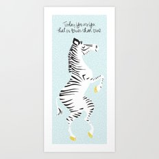 Blue Zebra (Dr. Seuss quote) Left Art Print