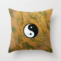 Yin Yang Stone Throw Pillow