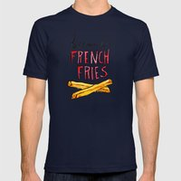 Because French Fries Mens Fitted Tee Navy SMALL