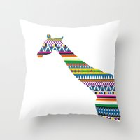 Giraffe with Tribal Pattern Throw Pillow