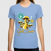 Gold Saucer Womens Fitted Tee Tri-Blue SMALL
