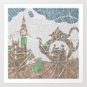 4 o'clock tea London Map Art Print