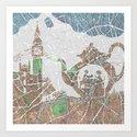 4 o'clock tea London Map Art Print