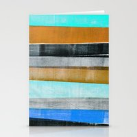Press print on fabric stripes Stationery Cards