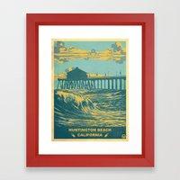 Vintage Huntington Beach Poster Framed Art Print