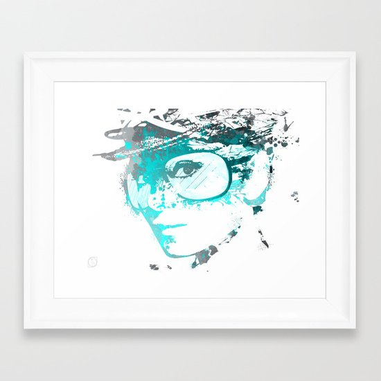 Audrey splash Cool Blue Framed Art Print