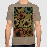 Bold Retro Flower Mens Fitted Tee Tri-Coffee SMALL