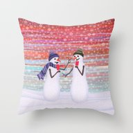 Snowmen With Popsicles Throw Pillow