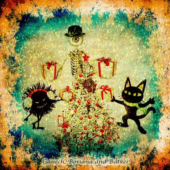 Mr. Bone, Whim and the Evil Flower Bug wish you a merry Christmas Art Print