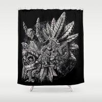 Aztec Great Lizard Warrior 1 (Triceratops) Shower Curtain