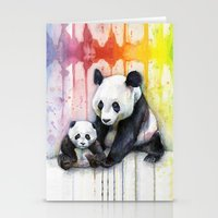 Pandas And Rainbow Water… Stationery Cards