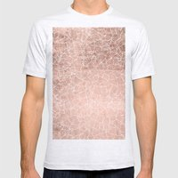 Modern faux rose gold stripes geometric pattern illustration Mens Fitted Tee Ash Grey SMALL