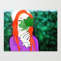 Snowy Willow Canvas Print