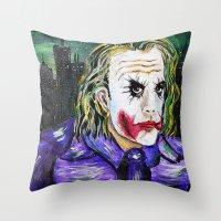 Gotham is Mine - Heath Ledger as The Joker Throw Pillow