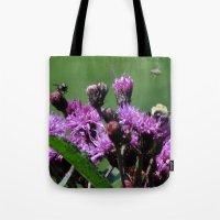 Violet Flowers Bee Photo… Tote Bag