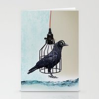 bird in the wire Stationery Cards