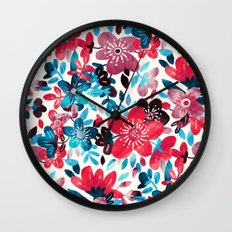 Happy Red Flower Collage Wall Clock