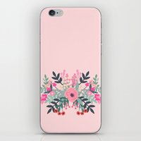 Pink bouquet Greeting card iPhone & iPod Skin
