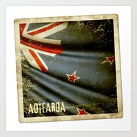 Grunge sticker of New Zealand flag Art Print
