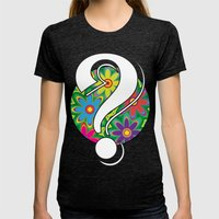 Psychedelic Question Mar… Womens Fitted Tee Tri-Black SMALL