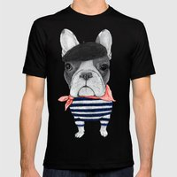 Frenchie With Arc De Tri… Mens Fitted Tee Black SMALL