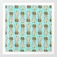 Pineapple Jungle - Aqua Art Print