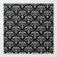 Damask Pattern Back And … Canvas Print
