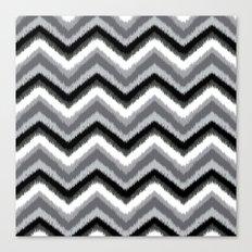 Ikat Chevron: Black Gray Canvas Print
