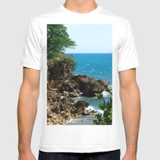 Near the lighthouse @ Rincon SMALL White Mens Fitted Tee