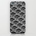 Waves All Over - White on Black iPhone & iPod Case