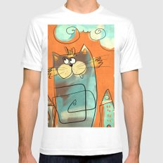 Retro Cat SMALL Mens Fitted Tee White