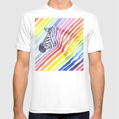 Zebra Rainbow Stripes Camouflage SMALL White Mens Fitted Tee